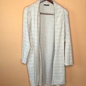 Zara Collection Tweed Long Textured Cardigan